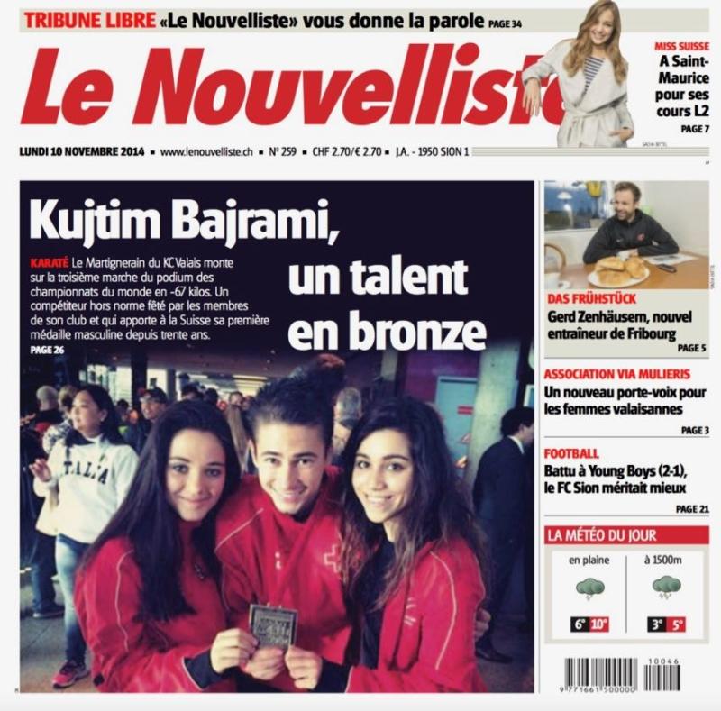 Championnats du Monde 2014 Karate Club Valais Sion Suisse Switzerland Ecole Olivier Knupfer 7e Dan
