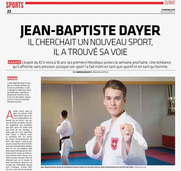Mondiaux Juniors | Jean-Baptiste Dayer sélectionné