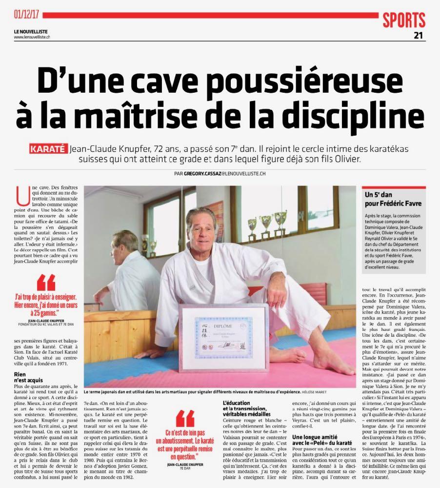Jean-Claude Knupfer 7e Dan | Le Nouvelliste
