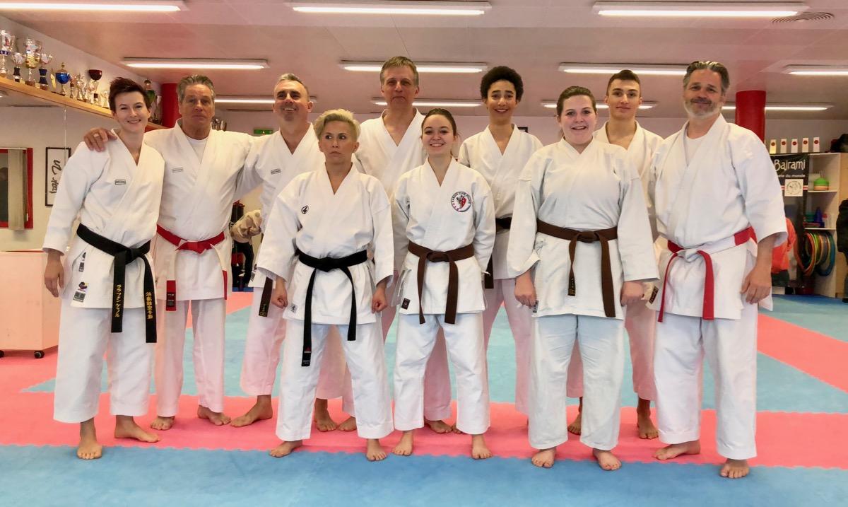 Karaté Club Valais ceintures noires mars 2018